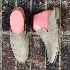 Free People Beige Leather At Ease Mules Loafer 8.5